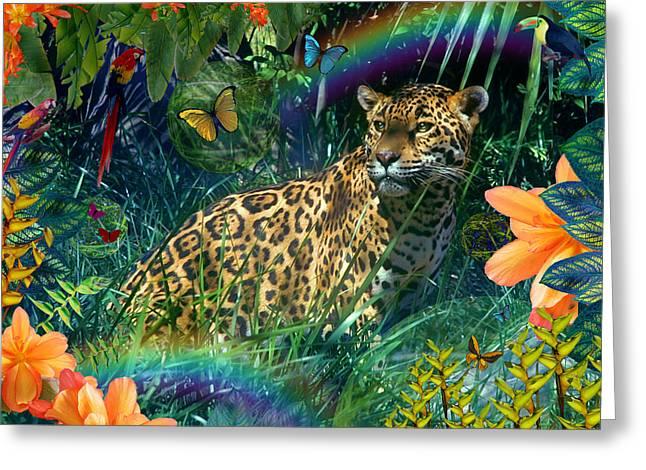 Jaguar Meadow  Variant 1 Greeting Card by Alixandra Mullins