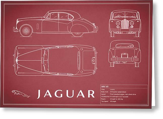 Mk Vii Greeting Cards - Jaguar Mk VII Blueprint - Red Greeting Card by Mark Rogan