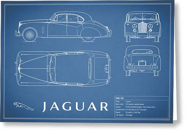 Mk Vii Greeting Cards - Jaguar Mk VII Blueprint Greeting Card by Mark Rogan
