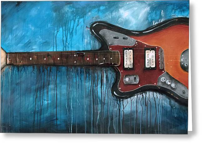Guitar Player Mixed Media Greeting Cards - Jaguar Nirvana Greeting Card by Sean Parnell