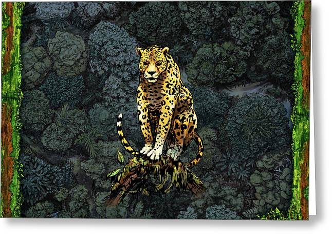 Lush Green Mixed Media Greeting Cards - Jaguar Greeting Card by Odysseas Stamoglou