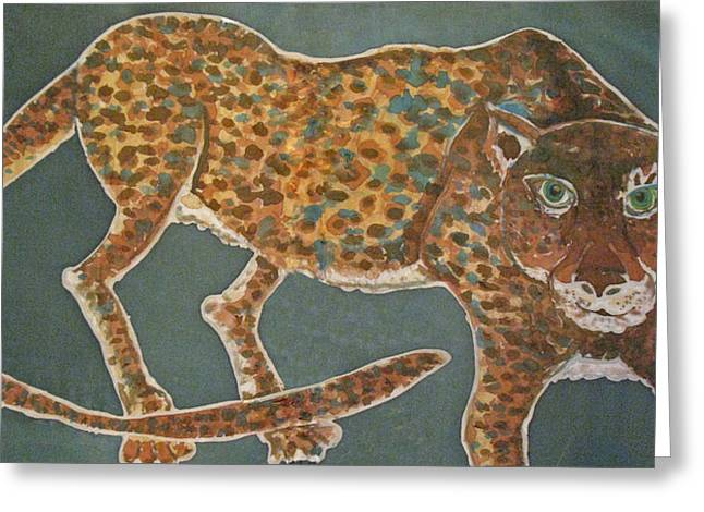 Jaguars Tapestries - Textiles Greeting Cards - Jaguar on Teal Greeting Card by Kelly     ZumBerge