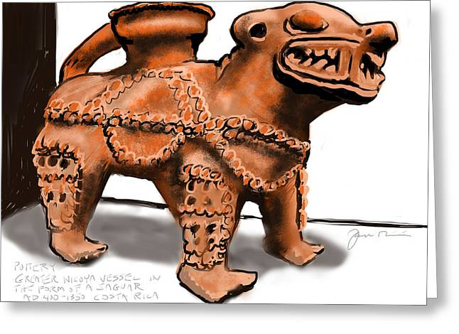 Mayan Pottery Greeting Cards - Jaguar Pottery Greeting Card by Jean Pacheco Ravinski