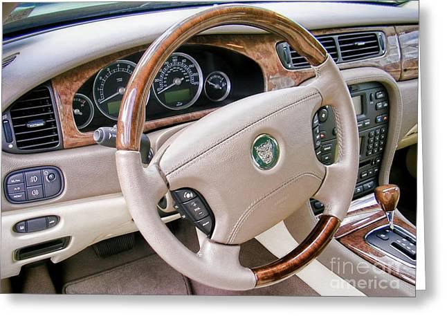 Veneer Greeting Cards - Jaguar S Type Interior Greeting Card by Olivier Le Queinec