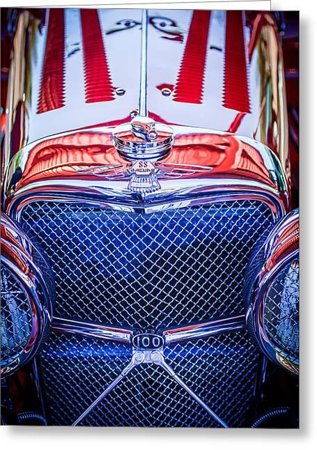 Jaguars Greeting Cards - Jaguar SS 100 Grille Emblem -0544c Greeting Card by Jill Reger