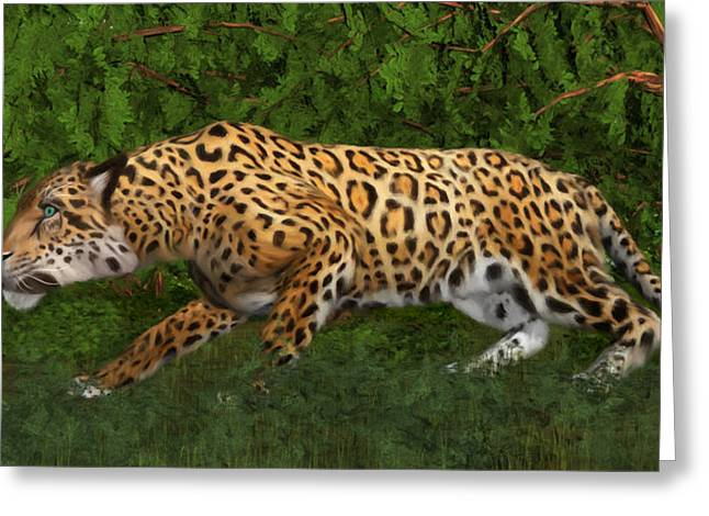 Jaguars Mixed Media Greeting Cards - Jaguar Stalking Prey Greeting Card by Walter Colvin