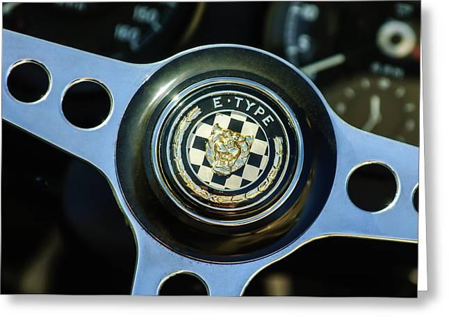 Jaguars Greeting Cards - Jaguar Steering Wheel Emblem -1185c Greeting Card by Jill Reger