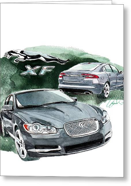 Jaguars Paintings Greeting Cards - Jaguar XF Greeting Card by Yoshiharu Miyakawa
