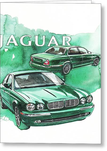 Jaguars Paintings Greeting Cards - Jaguar XJ Greeting Card by Yoshiharu Miyakawa