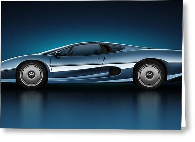 Super Real Greeting Cards - Jaguar XJ220 - Azure Greeting Card by Marc Orphanos