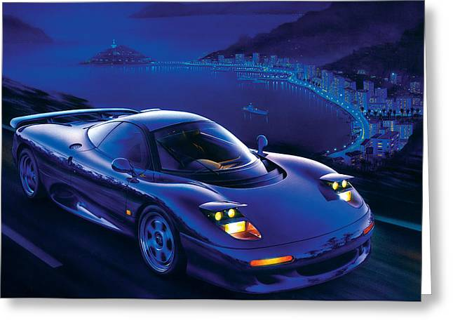 Blue Car. Greeting Cards - Jaguar XJR-15 Greeting Card by Garry Walton