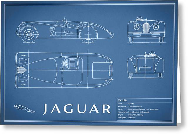 Jaguars Greeting Cards - Jaguar XK 120 Blueprint Greeting Card by Mark Rogan
