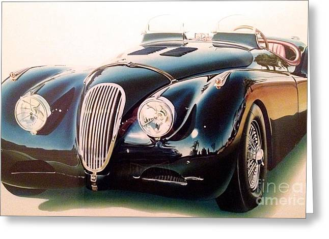 Owner Art Mixed Media Greeting Cards - Jaguar XK 120 Greeting Card by Marco Ippaso