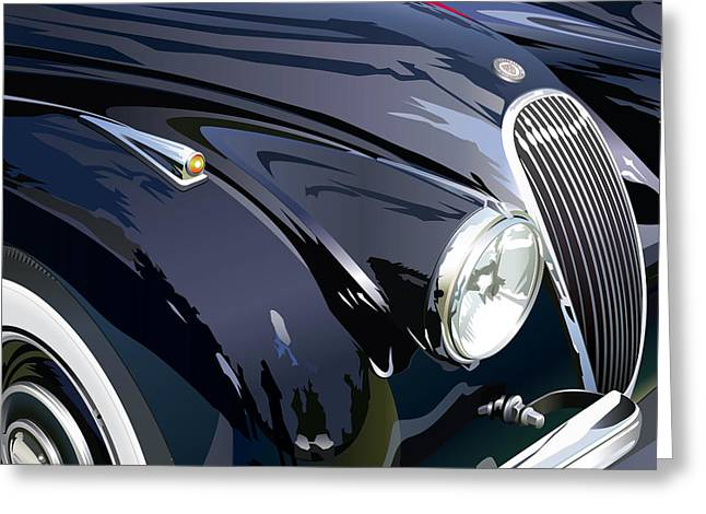 Jaguars Greeting Cards - Jaguar XK 120SE R Detail Greeting Card by Alain Jamar