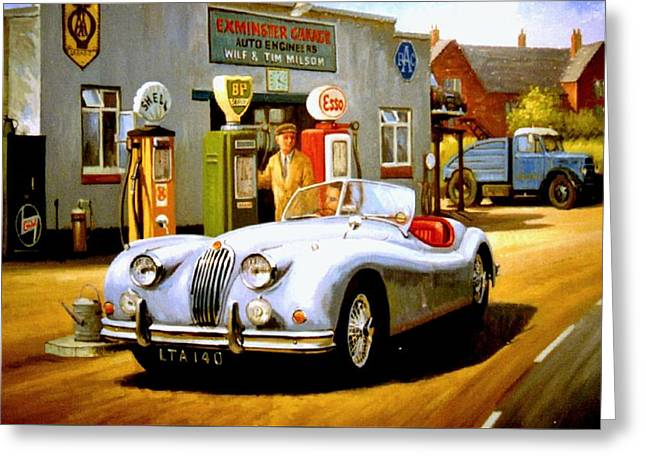 National Paintings Greeting Cards - Jaguar XK 140 Greeting Card by Mike  Jeffries