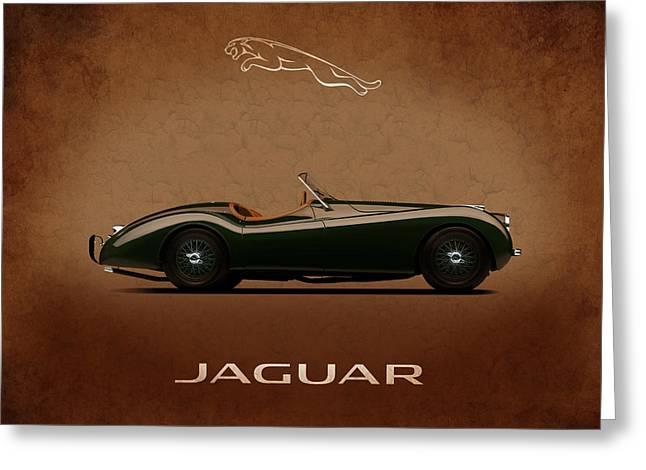 Jaguars Greeting Cards - Jaguar XK120 Greeting Card by Mark Rogan