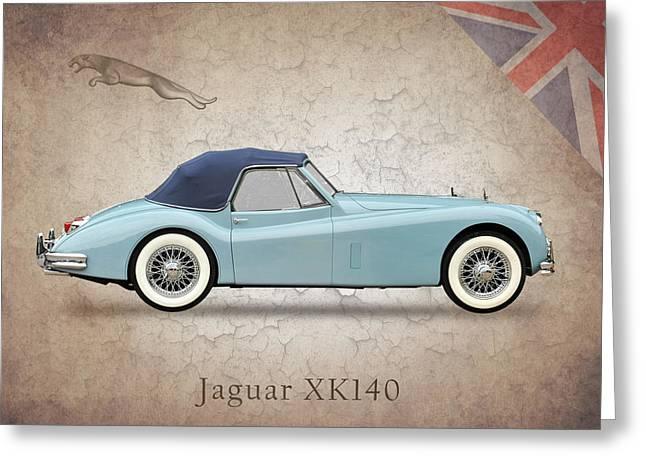 Jaguar XK140 Greeting Card by Mark Rogan