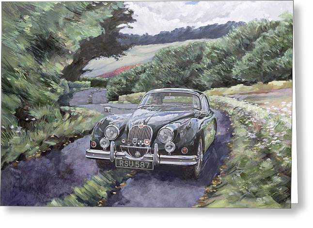 Rich Countries Greeting Cards - Jaguar XK150 Cruising Greeting Card by Clive Metcalfe