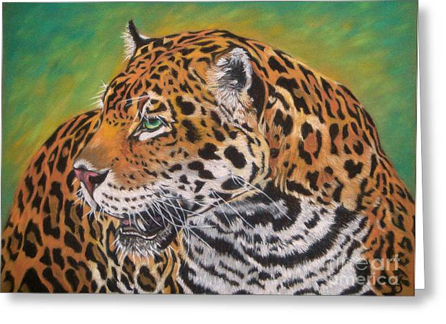 Hunter Pastels Greeting Cards - Jaguar Greeting Card by Yvonne Johnstone