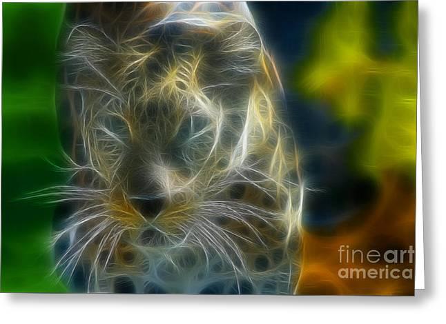 Jaguar208-fractal Greeting Card by Gary Gingrich Galleries