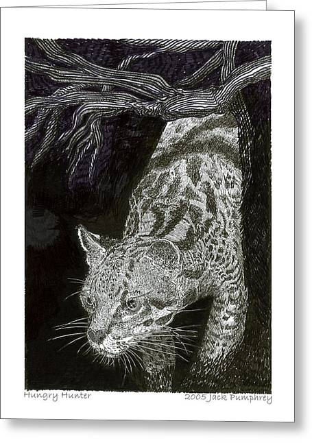 Universities Drawings Greeting Cards - Jaguarundi Hungry Hunter Greeting Card by Jack Pumphrey