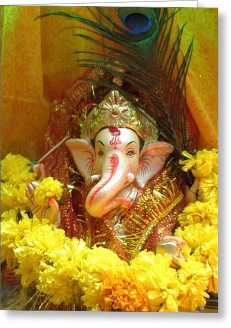 Vinayaka Greeting Cards - Jai Vinayaka Greeting Card by Artist Nandika  Dutt
