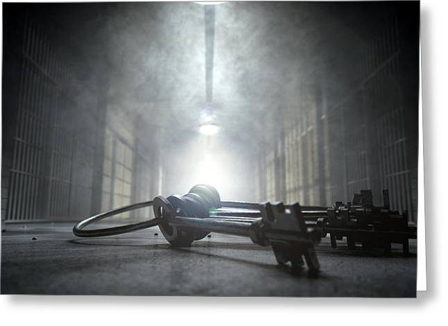 Shining Light Greeting Cards - Jail Corridor And Keys Greeting Card by Allan Swart