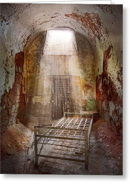 Decay Laws Greeting Cards - Jail - Eastern State Penitentiary - 50 years to life Greeting Card by Mike Savad