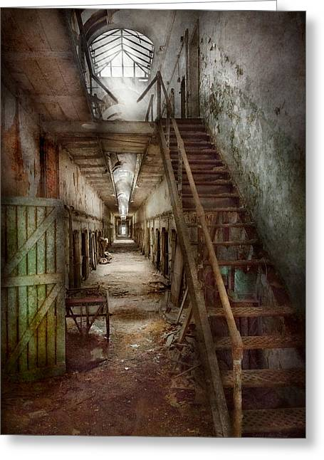 Decay Laws Greeting Cards - Jail - Eastern State Penitentiary - Down a lonely corridor Greeting Card by Mike Savad