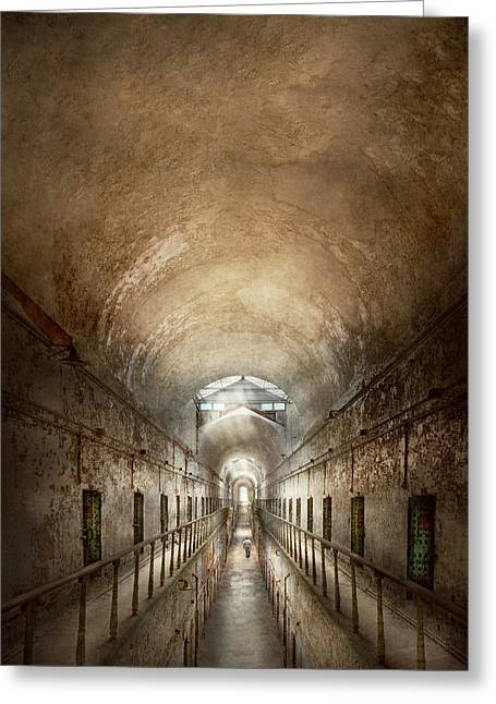 Decay Laws Greeting Cards - Jail - Eastern State Penitentiary - End of a journey Greeting Card by Mike Savad