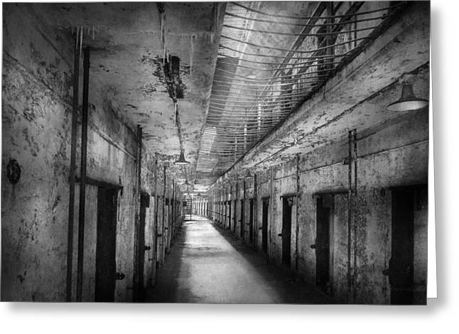 White Frame House Greeting Cards - Jail - Eastern State Penitentiary - The forgotten ones  Greeting Card by Mike Savad