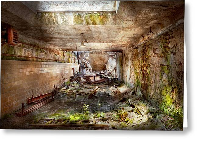 Imprisonment Greeting Cards - Jail - Eastern State Penitentiary - The mess hall  Greeting Card by Mike Savad