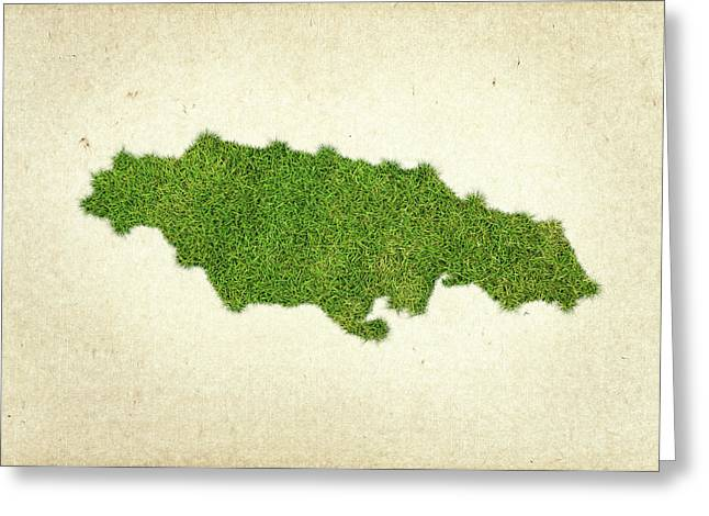 Planet Map Mixed Media Greeting Cards - Jamaica Grass Map Greeting Card by Aged Pixel