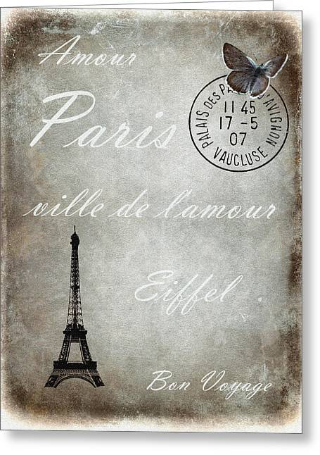 Eiffel Tower Mixed Media Greeting Cards - Jaime la France 2 Greeting Card by Sharon Lisa Clarke