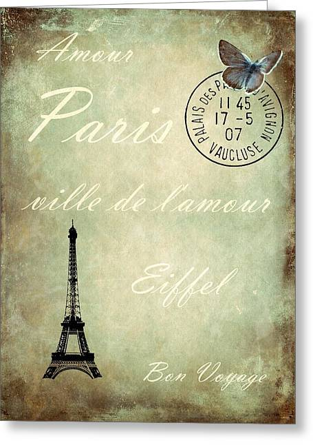 Eiffel Tower Mixed Media Greeting Cards - Jaime la France Greeting Card by Sharon Lisa Clarke