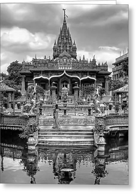 Jainism Greeting Cards - Jain Temple monochrome Greeting Card by Steve Harrington