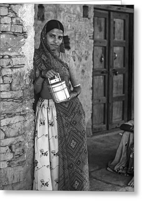 Henna Greeting Cards - Jaisalmer Beauty monochrome Greeting Card by Steve Harrington