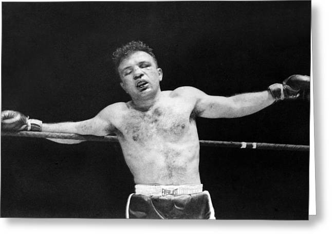 "Famous Athletes Greeting Cards - Jake ""Raging Bull"" LaMotta Greeting Card by Underwood Archives"