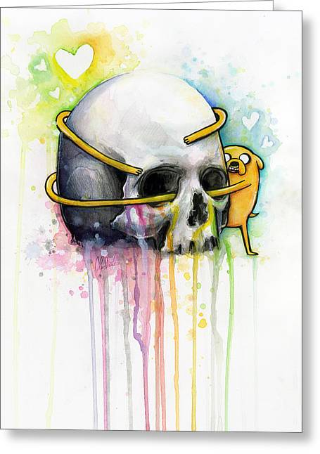 Dog Prints Mixed Media Greeting Cards - Jake the Dog Hugging Skull Adventure Time Art Greeting Card by Olga Shvartsur