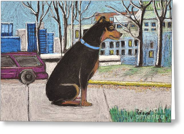 Small Dog Pastels Greeting Cards - Jake the Dog on Campus Greeting Card by Reb Frost