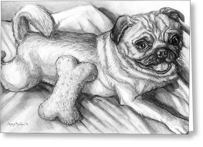 Toy Dog Drawings Greeting Cards - Jakey Greeting Card by Shana Rowe