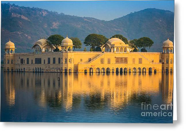 Jaipur Greeting Cards - Jal Mahal Greeting Card by Inge Johnsson