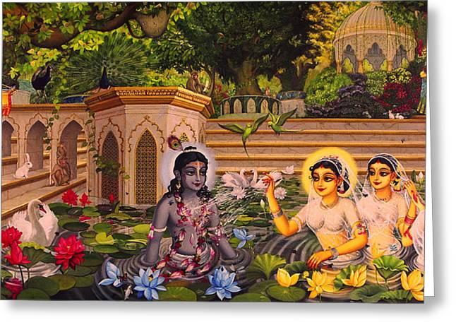 Gopi Greeting Cards - Jala keli on Radha kunda Greeting Card by Vrindavan Das