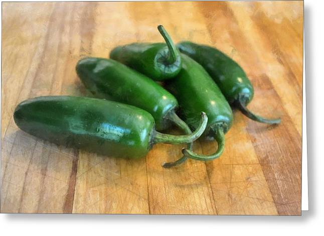 Ingredients Digital Art Greeting Cards - Jalapenos Greeting Card by Michelle Calkins