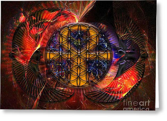The Flower Of Life Greeting Cards - Jaliel Greeting Card by Mynzah Osiris