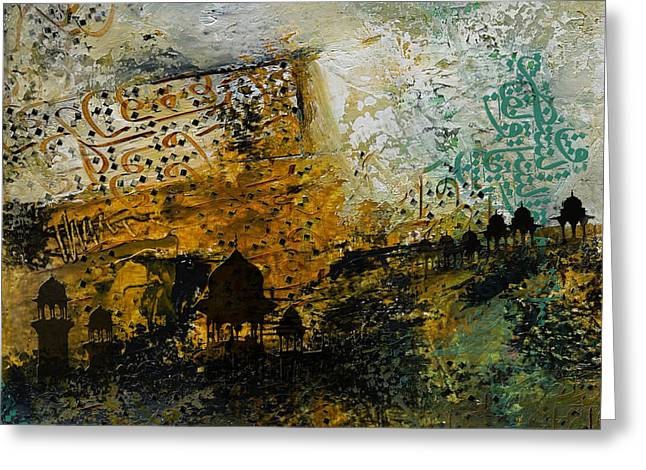 Abstract Art On Canvas Paintings Greeting Cards - Jama Masjid Greeting Card by Corporate Art Task Force