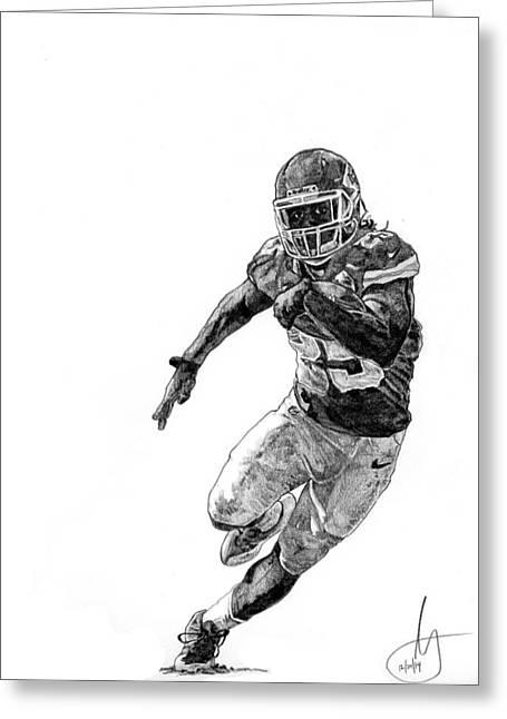 Running Back Drawings Greeting Cards - Jamaal Charles Greeting Card by Joshua Sooter