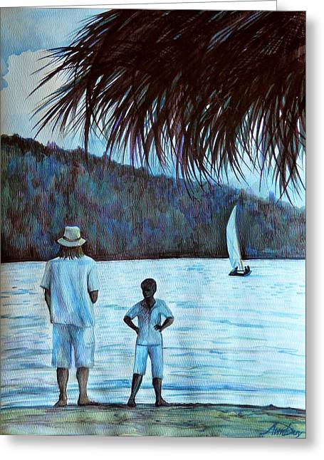 Evening Scenes Drawings Greeting Cards - Jamaica Evening Greeting Card by Anna  Duyunova