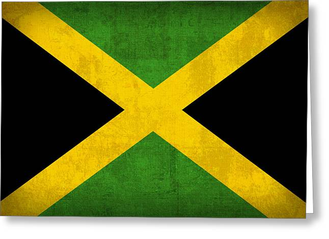 Jamaica Greeting Cards - Jamaica Flag Vintage Distressed Finish Greeting Card by Design Turnpike