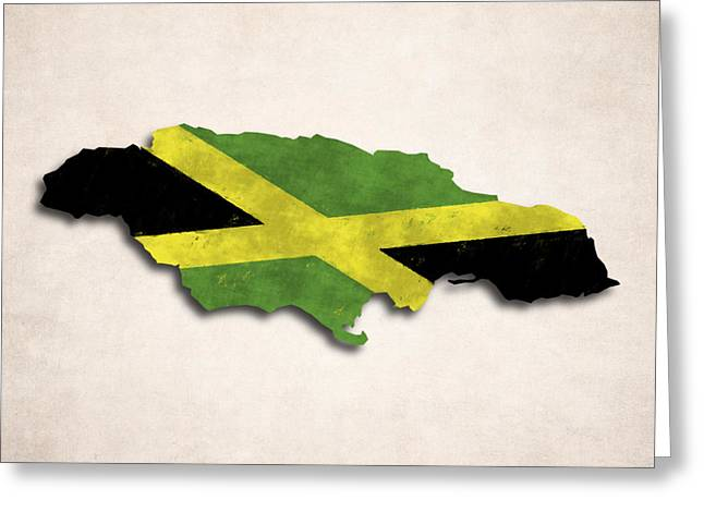 Kingston Digital Greeting Cards - Jamaica Map Art with Flag Design Greeting Card by World Art Prints And Designs